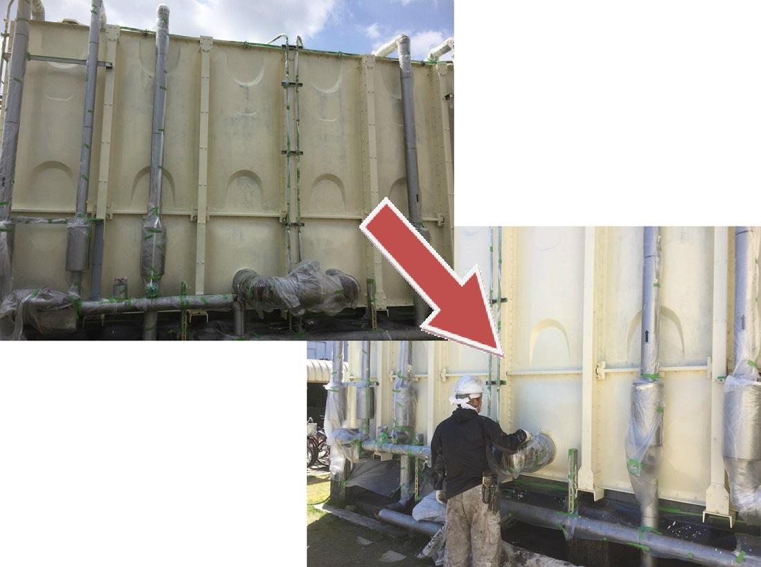 受水槽タンク塗装工事 側板上塗り