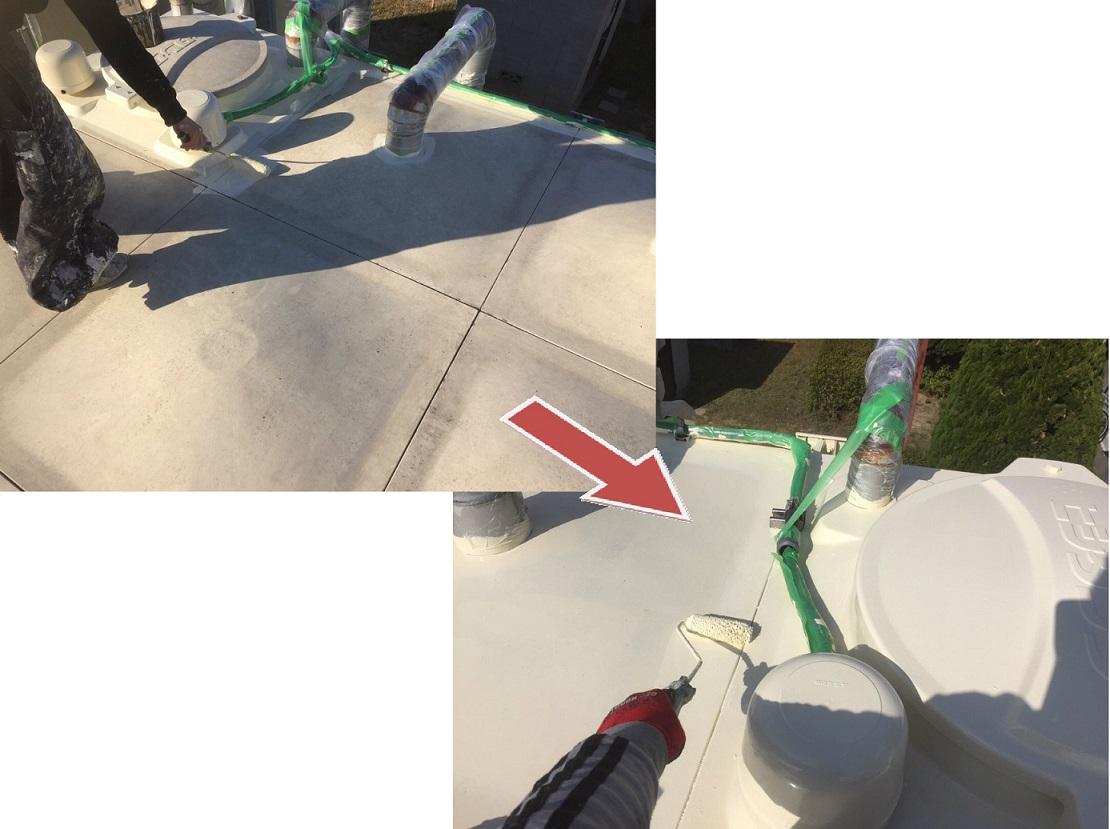 受水槽タンク塗装工事 天板上塗り