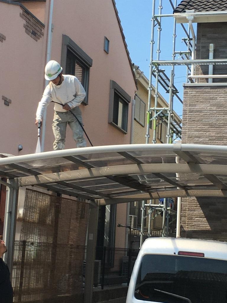 外壁改修工事 カーポート高圧水洗浄