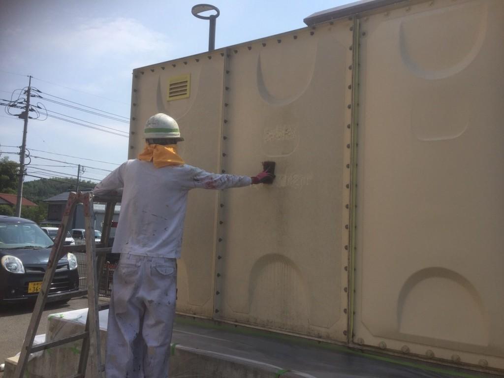 タンク塗装工事 側面 ケレン