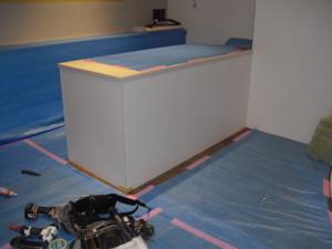 店舗リニューアル工事 レジカウンター 造作完了